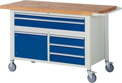 Werkbank Serie 8922, fahrbar, 5 Schubladen, 2 Fachböden mit Tür, B 1500 x T 700 x H 880 mm