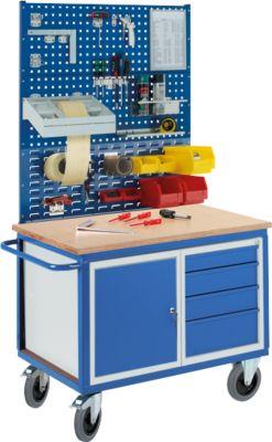 Werkbankwagen Profi, 1 Schrank, 4 Schubladen, 2 Lochmodulplatten, 1 Schlitzmodulplatte