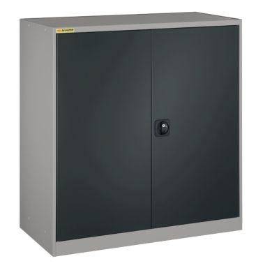 Werkplaatskast, met 1 tussenplank, met 2 laden, B 1055 mm, licht zilver/antracietgrijs.