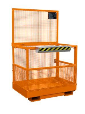 Werkplatform Bauer MB-B, 2 personen/300kg, opname met heftruck brede kant, oranje RAL 2000