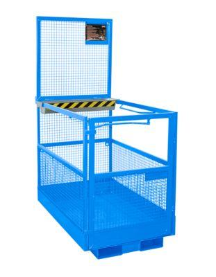 Werkplatform Bauer MB-B/L, 2 personen/300kg, opname met heftruck smalle kant, lichtblauw RAL 5012
