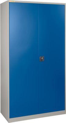 Werkstattschrank, B 1055 x T 430 mm, mit Schubladen, hellsilber/enzianblau