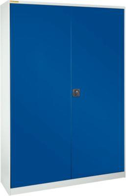Werkstattschrank, B 1345 x T 420 mm, mit Schublade, lichtgrau/enzianblau