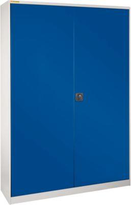 Werkstattschrank, B 1345 x T 520 mm, mit Schublade, hellsilber/enzianblau