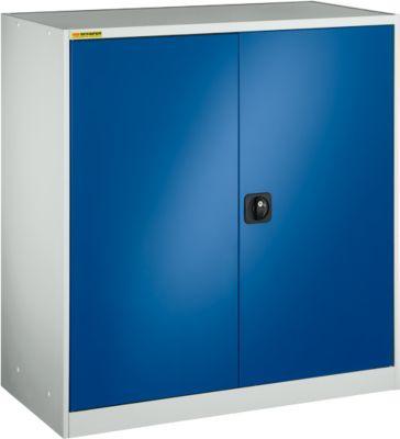 Werkstattschrank, mit 1 Zwischenboden, mit 2 Schubladen, B 1055 mm, lichtgrau/enzianblau