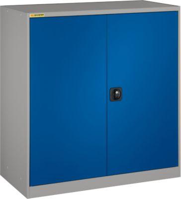 Werkstattschrank, mit 1 Zwischenboden, mit 2 Schubladen, B 1345 mm, hellsilber/enzianblau
