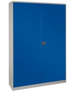 Werkstattschrank, mit Mitteltrennwand, mit 2 Vertikalauszügen, T 520 mm, hellsilber/enzianblau