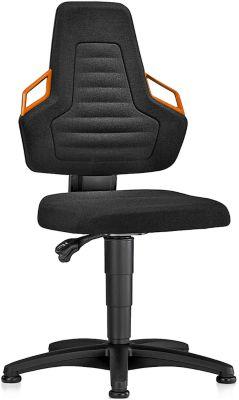 Werkstoel, glijders, bekleed met zwarte stof, oranje grepen