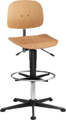 Werkstoel, model 9436, met glijders en voetensteun, beuken