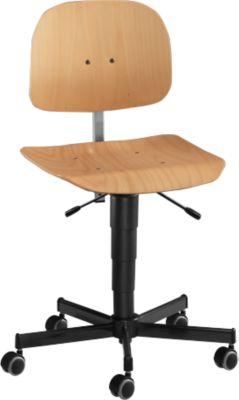 Werkstoel, model 9438, met wielen, beuken