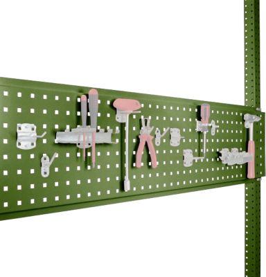 Werkzeug-Lochplatte, für Tischbreite 1500 mm, f. Serie Universal/Profi, resedagrün RAL 6011