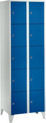 Wertfachschrank 300 mm, 2 Abteile, 10 Fächer, Sicherheitszylinderschloss, Fuß, enzianblau