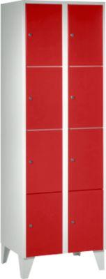 Wertfachschrank 300 mm, 2 Abteile, 8 Fächer, Sicherheitszylinderschloss, Fuß, feuerrot