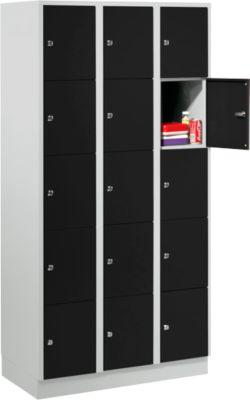 Wertfachschrank 300 mm, 3 Abteile, 15 Fächer, Sicherheitszylinderschloss, Sockel, tiefschwarz