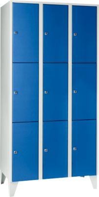 Wertfachschrank 300 mm, 3 Abteile, 9 Fächer, Sicherheitszylinderschloss, Fuß, enzianblau