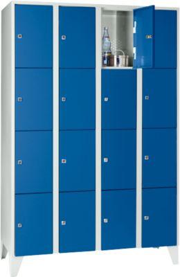 Wertfachschrank 300 mm, 4 Abteile, 16 Fächer, Sicherheitszylinderschloss, Fuß, enzianblau