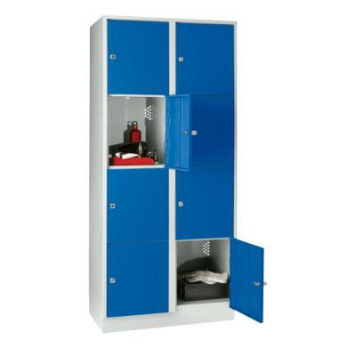 Wertfachschrank 400 mm, 2 Abteile, 8 Fächer, Sicherheitszylinderschloss, Sockel, enzianblau