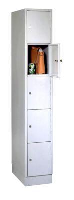 Wertfachschrank, mit Sockel, Fächeranzahl 5, Fachbreite 300 mm, Sicherheitszylinderschloss, lichtgrau