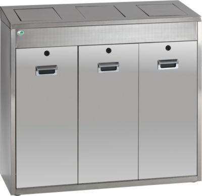 Wertstoffsortiersystem VAR 3 x 48 Liter, Edelstahl