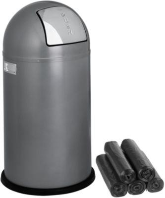 WESCO Vuurvast afvalverzamelaar Pushboy, zilver + afvalzakken gratis