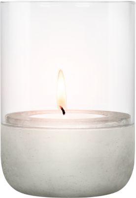Windlicht blomus® CALMA, Glas klar & Beton, klein, für Teelichter