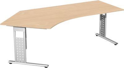 Winkelschreibtisch 135° ALICANTE, C-Fuß, Ansatz links, B 2166 x T 800 x H 680-820 mm, Buche-Dekor