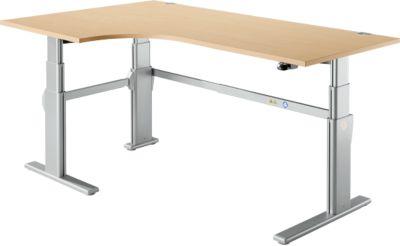 Winkelschreibtisch 90° Komfort, Ansatz links, 2-stufig elektr. höhenverstellbar, B 2000 mm, Ahorn/weißalu