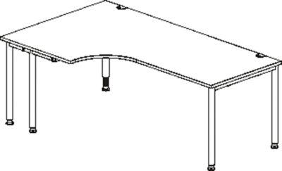 Winkelschreibtisch MODENA FLEX 90°, Ansatz links, einseitig, verkürzte Seitenteile, 4-Fuß-Rundrohr, Buche-Dekor