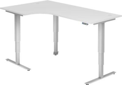 Winkelschreibtisch ULM, elektrisch, höhenverstellbar, B 2000 mm, weiß