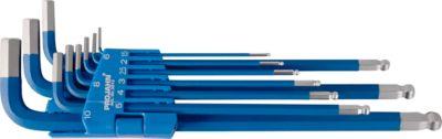 Winkelstiftschlüssel-Satz Projahn, 9-tlg., f. Innen-6kant 1,5-10 mm, lang, S2-Stahl blau