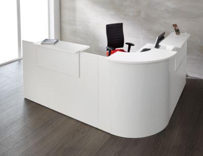 Winkeltheke Come-In, rund, 3 Ablagen, Breite 1600 mm, Eckelement weiß, weiß/weiß