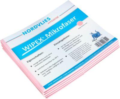 WIPEX microvezel-reinigingsdoek, meerdere keren wasbaar, reinigen zonder strepen, 50 stuks, roze