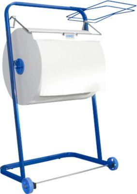 WIPEX vloerstandaard, voor rollen poetspapier tot b 400 mm, verrijdbaar, met afvalzakhouder