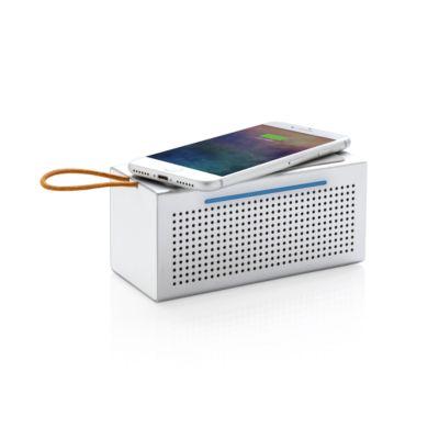 Wireless Charger mit Bluetooth Lautsprecher Vibe, Qi-kompatibel, 5/6 W, Mikrofon, USB-Kabel, Werbedruck 60 x 20 mm
