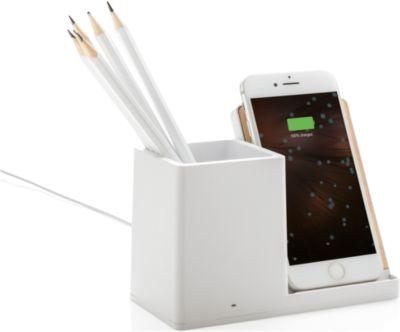 Wireless Charger mit Stifteköcher Ontario, Qi-kompatibel, 5 W, Micro-USB Kabel, Werbedruck 5-farbig 50 x 60 mm