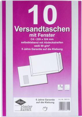 Witte enveloppen C4, 324 x 229 mm, met venster, zelfklevend met beschermstrip, pak van 10 stuks