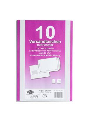 Witte enveloppen C5, 162 x 229 mm, met venster, zelfklevend met bandbescherming, pak van 10 stuks