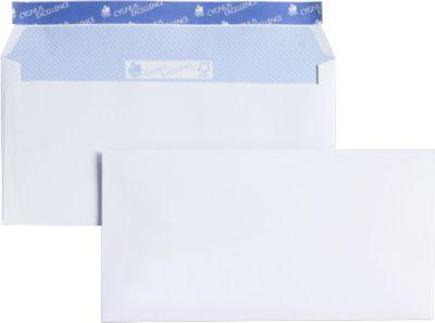 Witte enveloppen formaat C6/5, zonder venster, pak van 500 stuks