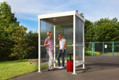 WSM Jena rokersruimte, voor buiten, B 1550 x D 1550 x H 2360 mm, 2/3 personen, verzinkt