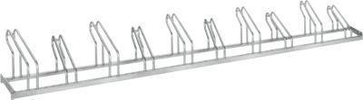 WSM-parkeerbeugel, eenzijdig, voor banden tot 55 mm breed, B 3500 x D 1850 x H 500 mm, thermisch verzinkt staal, 10 parkeerplaatsen, gemonteerd.
