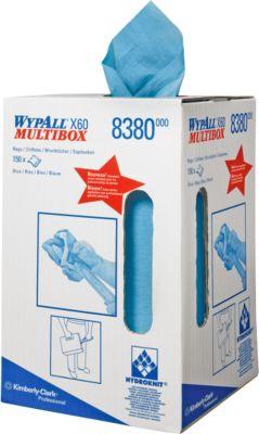 WYPALL® Reinigingsdoekjes  X-60, hydroknitmateriaal, dispenserbox van 150 doeken, 1-laags, blauw