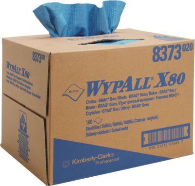 WYPALL® Reinigingsdoekjes X- 80, hydroknit materiaal, box van 160 doeken, 1- laags, staalblauw