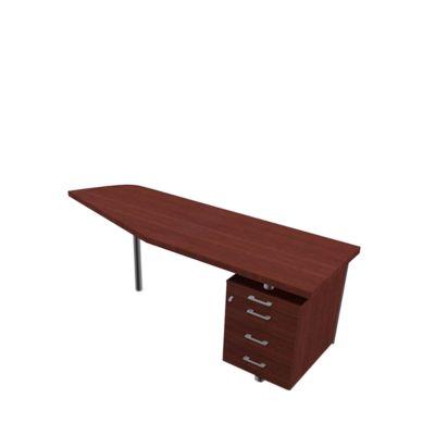 X-TIME-WORK aanbouwtafel rechts met ladeblok, wengé/aluminium