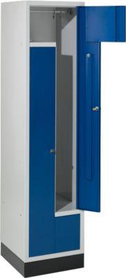 Z-Garderobenschrank, 2 Abteile, mit Sockel, Zylinderschloss, enzianblau