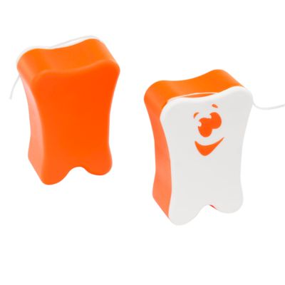 Zahnseide in Kunststoff-Box, 11 m, L 47 x B 33 x H 18 mm, Werbefläche 21 x 16 mm, weiß/orange
