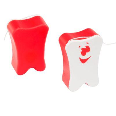 Zahnseide in Kunststoff-Box, 11 m, L 47 x B 33 x H 18 mm, Werbefläche 21 x 16 mm, weiß/rot