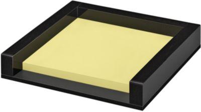 Zettelbox WEDO Black Office, schwarz mattiert/glänzend, mit 50 Haftnotizen
