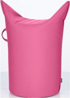 Zipfel poef, buitenstof, zithoogte 500 mm, met greeplus, roze