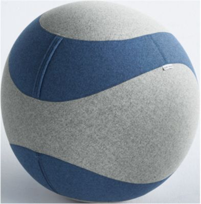 Zitbal DOTTO, met stoffen bekleding, ø 650 mm, grijs/blauw