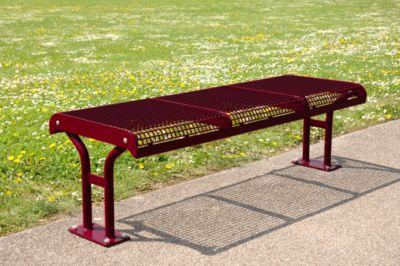 zitbank Essen, zonder rugleuning, krukje, 3 zitjes, in beton, wijnrood, 3 zitplaatsen, in te stellen